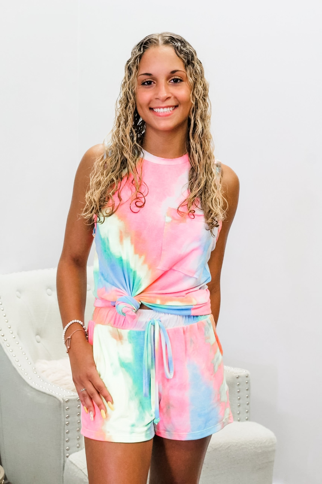 White Birch Mix It Up Tie Dye Set - Front Cropped Image
