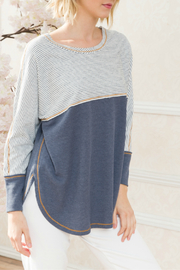 Mystree Mix stripe and thermal dolman sleeve top. Casual, weekend must have. Loose fitting and full of comfort. Model wearing size small. - Product Mini Image