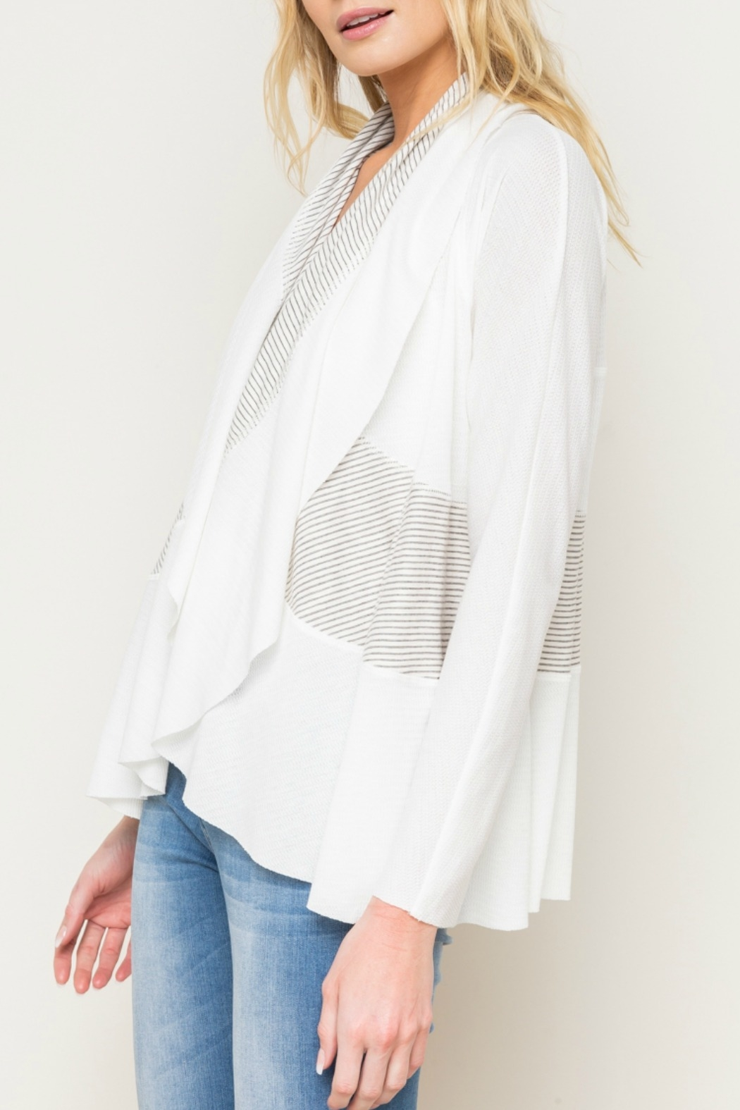 Mystree Mix Stripe Shawl Collar Open Cardy - Front Full Image