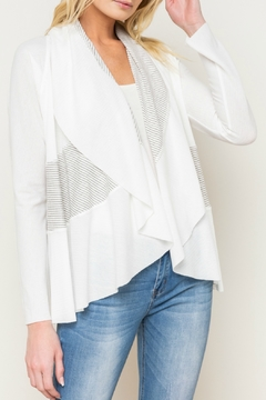 Shoptiques Product: Mix Stripe Shawl Collar Open Cardy