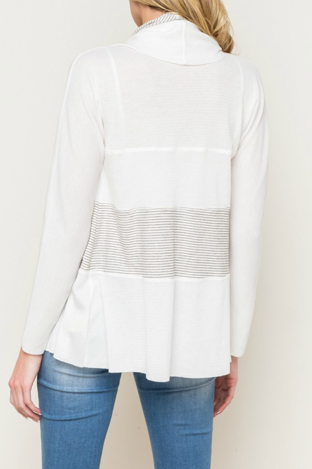 Mystree Mix Stripe Shawl Collar Open Cardy - Side Cropped Image