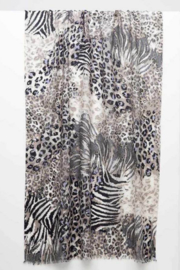 Kinross Cashmere MIXED ANIMAL PRINT SCARF - Product Mini Image