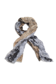 Two's Company Mixed Animal Print Scarf w Fringe - Front full body