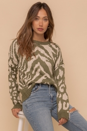 Hem & Thread Mixed Animal Print Sweater - Front cropped