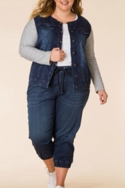 Yest Mixed Denim and Knit Jacket - Product Mini Image