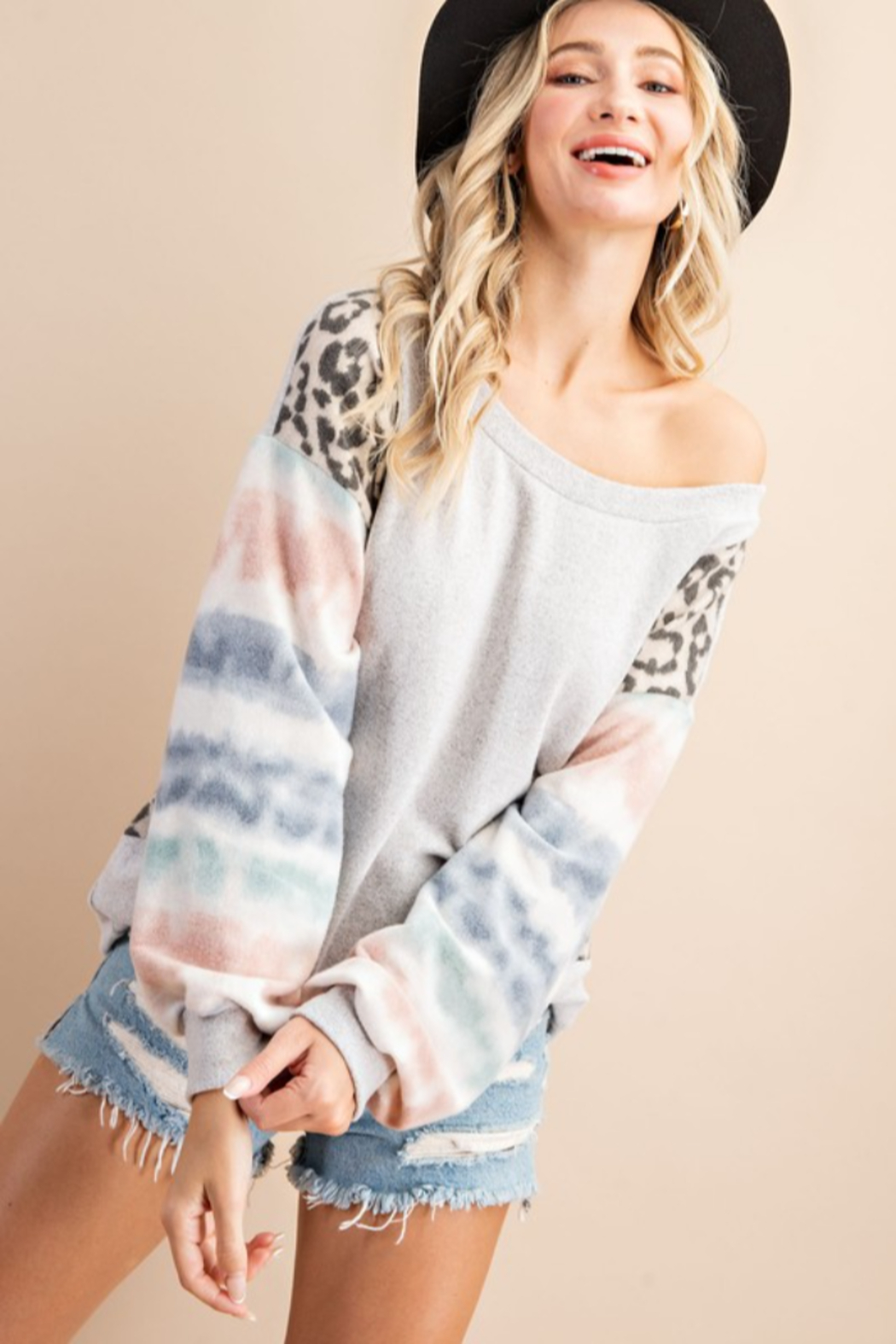 143 Story Mixed Fabric Bubble Sleeve Top - Front Full Image