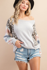 143 Story Mixed Fabric Bubble Sleeve Top - Front cropped