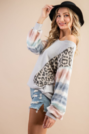 143 Story Mixed Fabric Bubble Sleeve Top - Side cropped