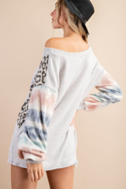 143 Story Mixed Fabric Bubble Sleeve Top - Back cropped