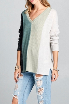 Shoptiques Product: Mixed-Fabric V-Neck Top