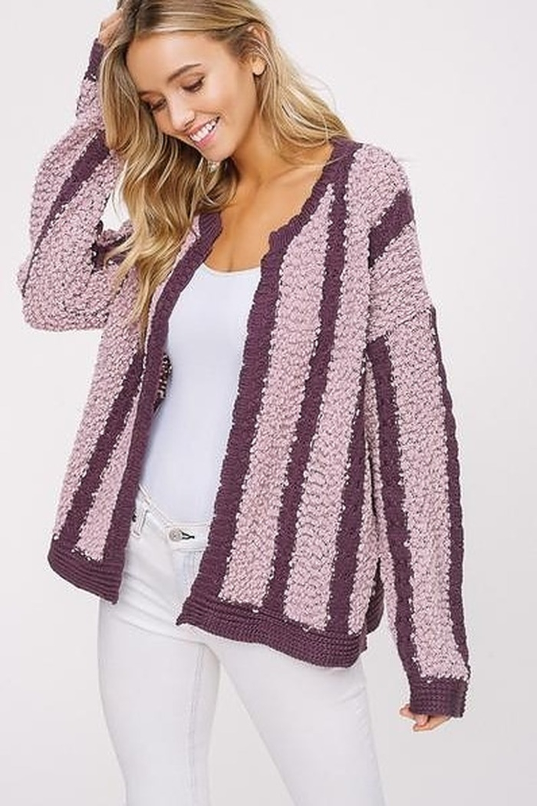 Listicle Mixed Knit Open Cardigan - Front Cropped Image