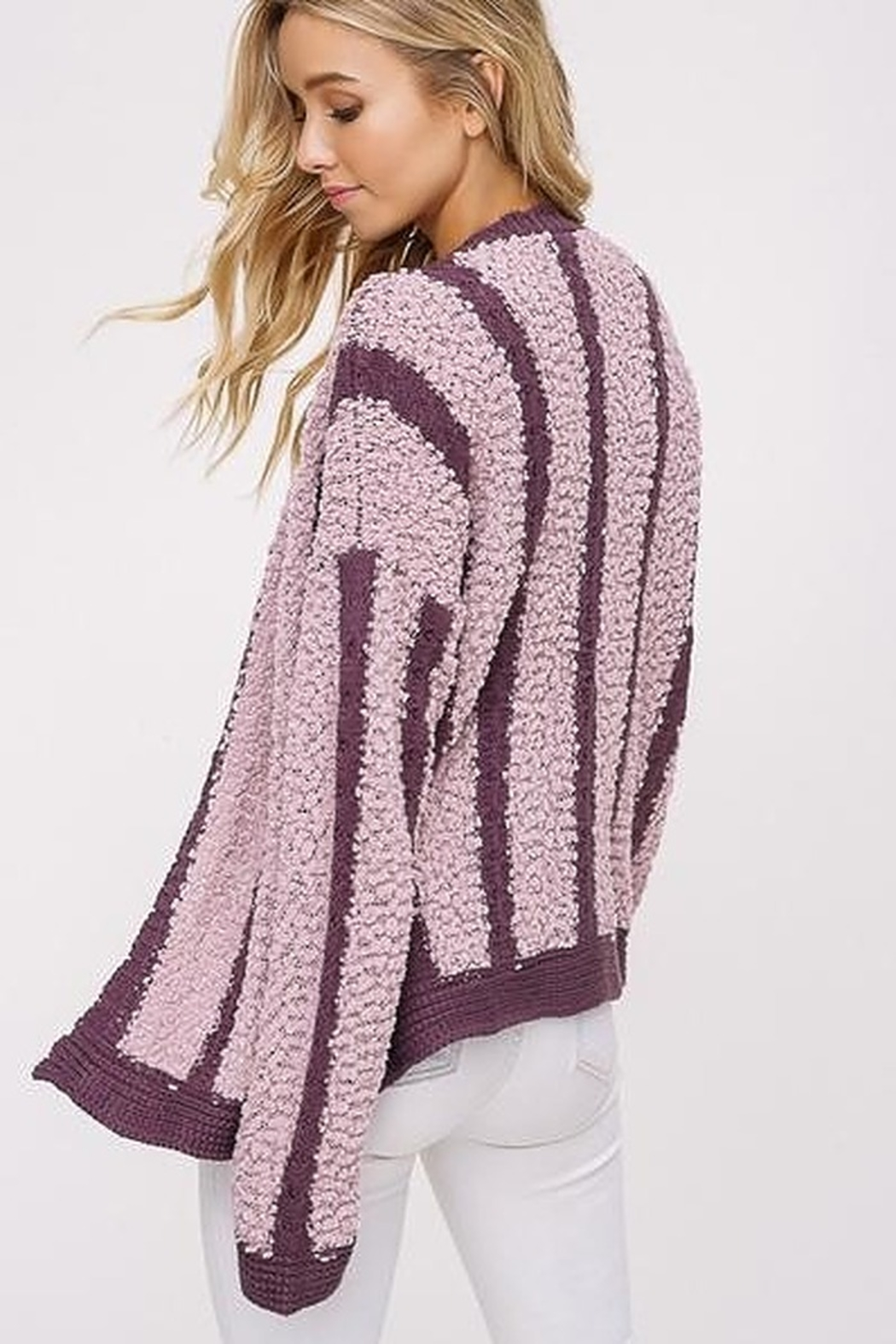 Listicle Mixed Knit Open Cardigan - Front Full Image