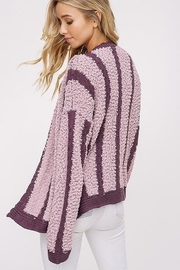 Listicle Mixed Knit Open Cardigan - Front full body