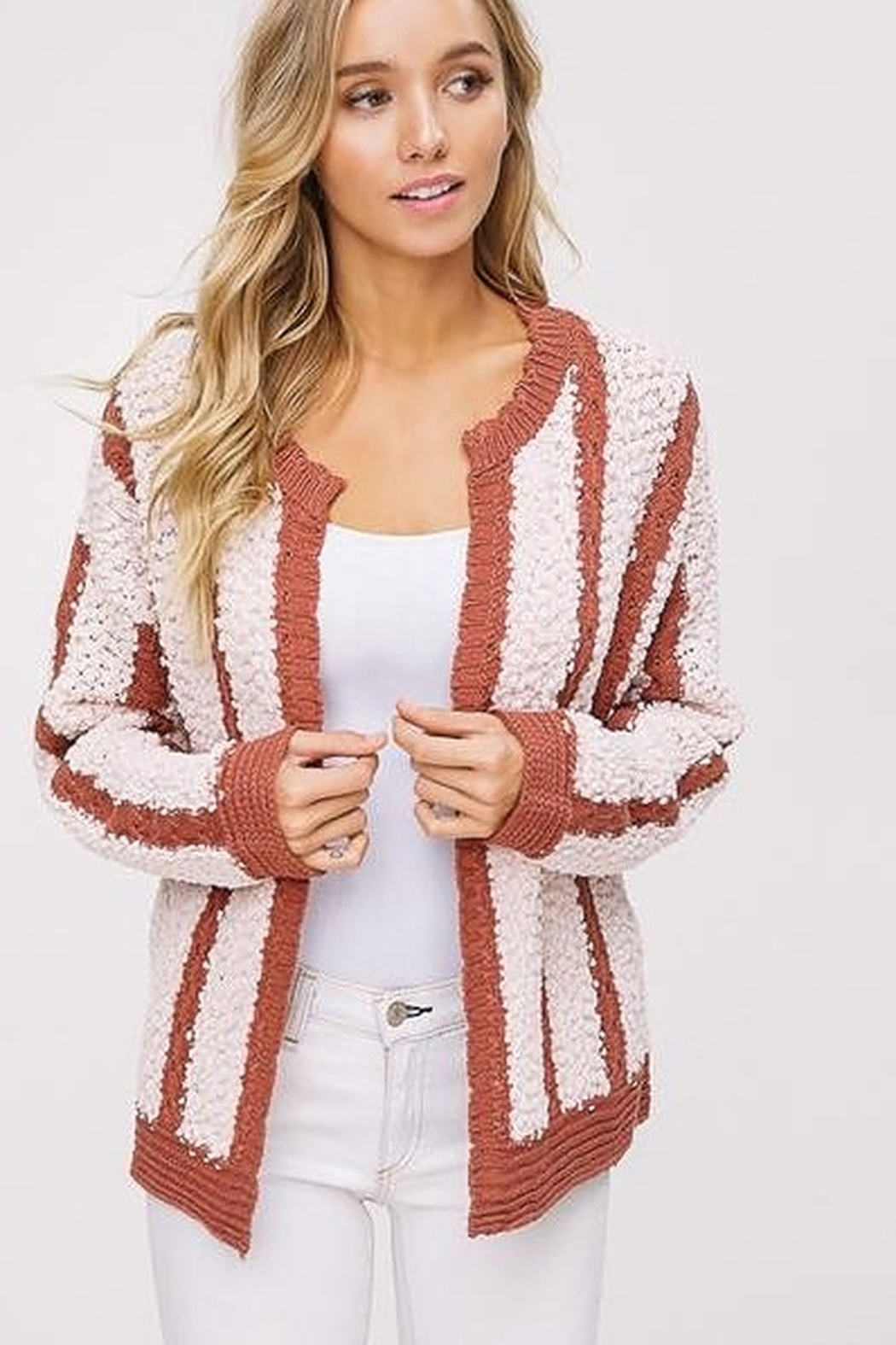 Listicle Mixed Knit Open Cardigan - Main Image