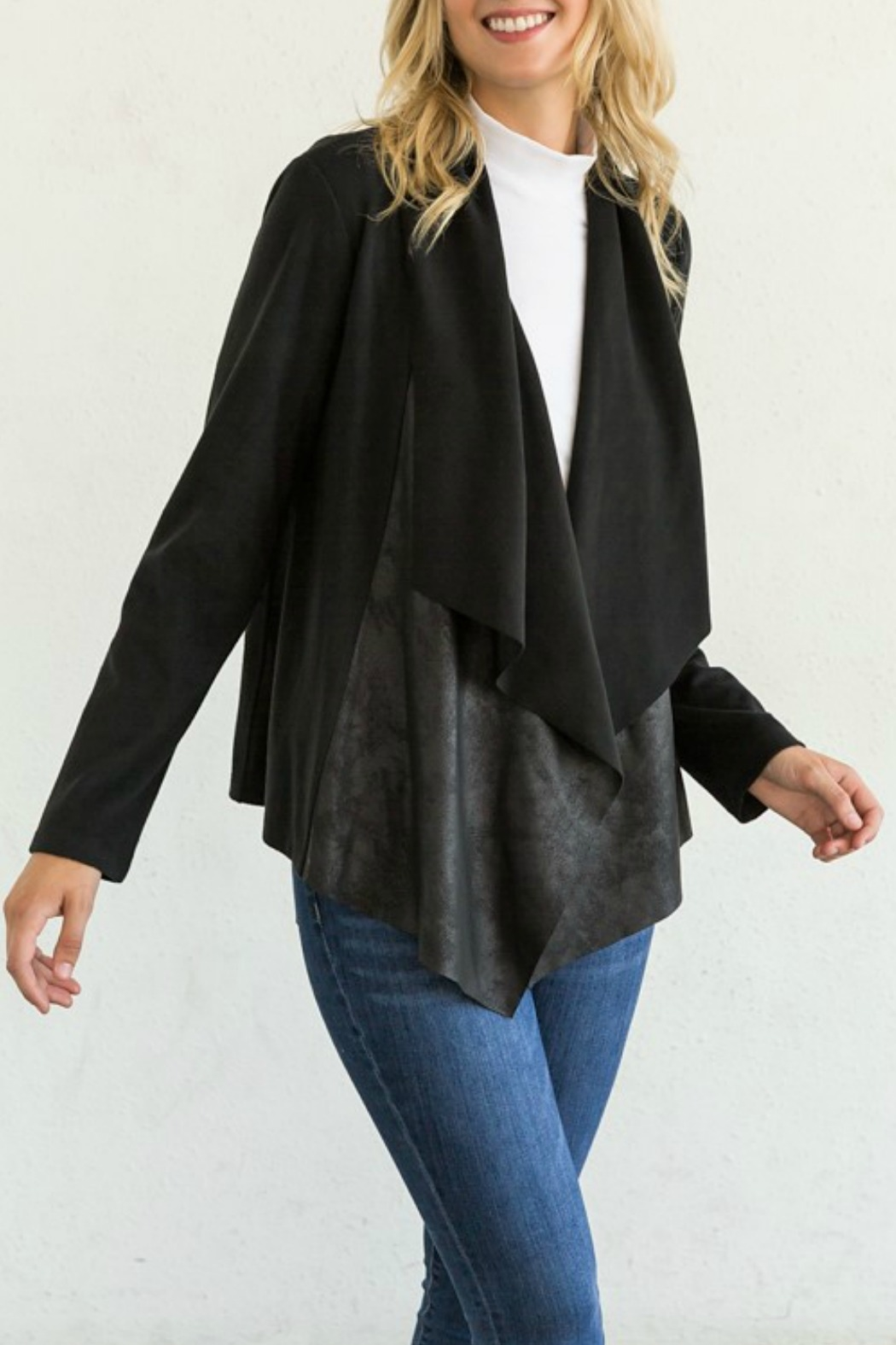 Mystree Mixed Leather Open Jacket - Front Cropped Image