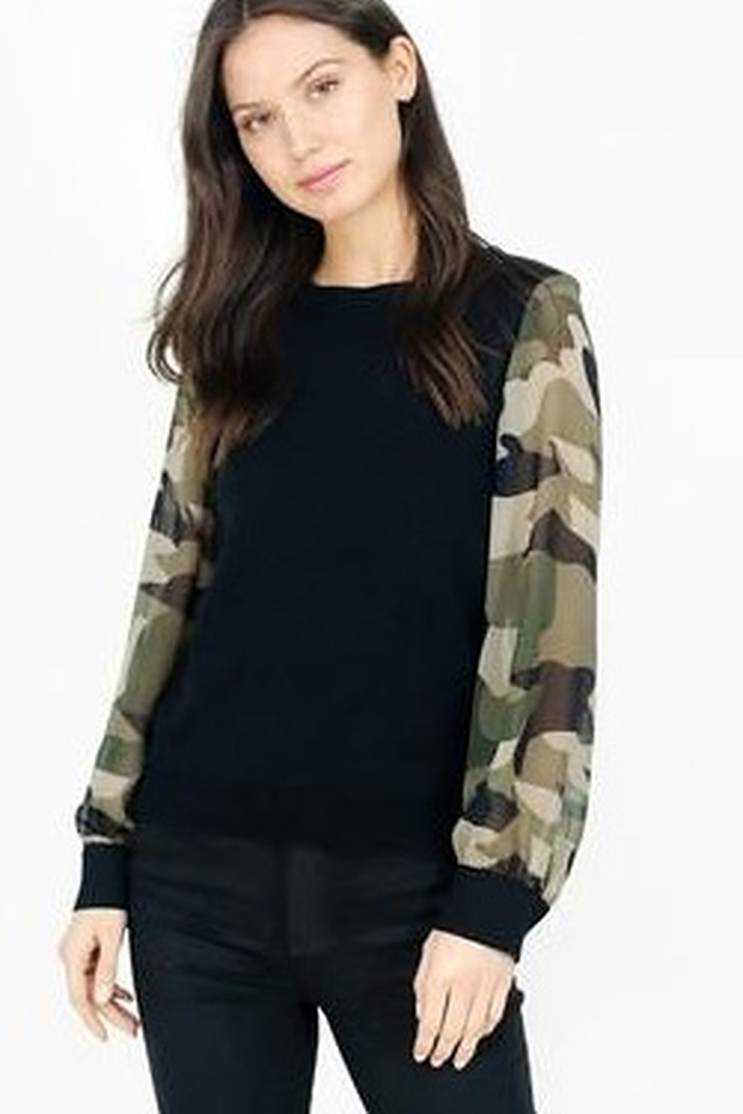Six Fifty Mixed Media Camo Sleeve Top - Front Full Image