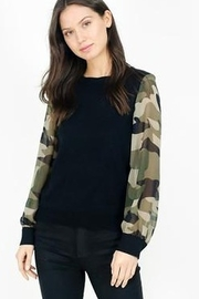 Six Fifty Mixed Media Camo Sleeve Top - Front full body