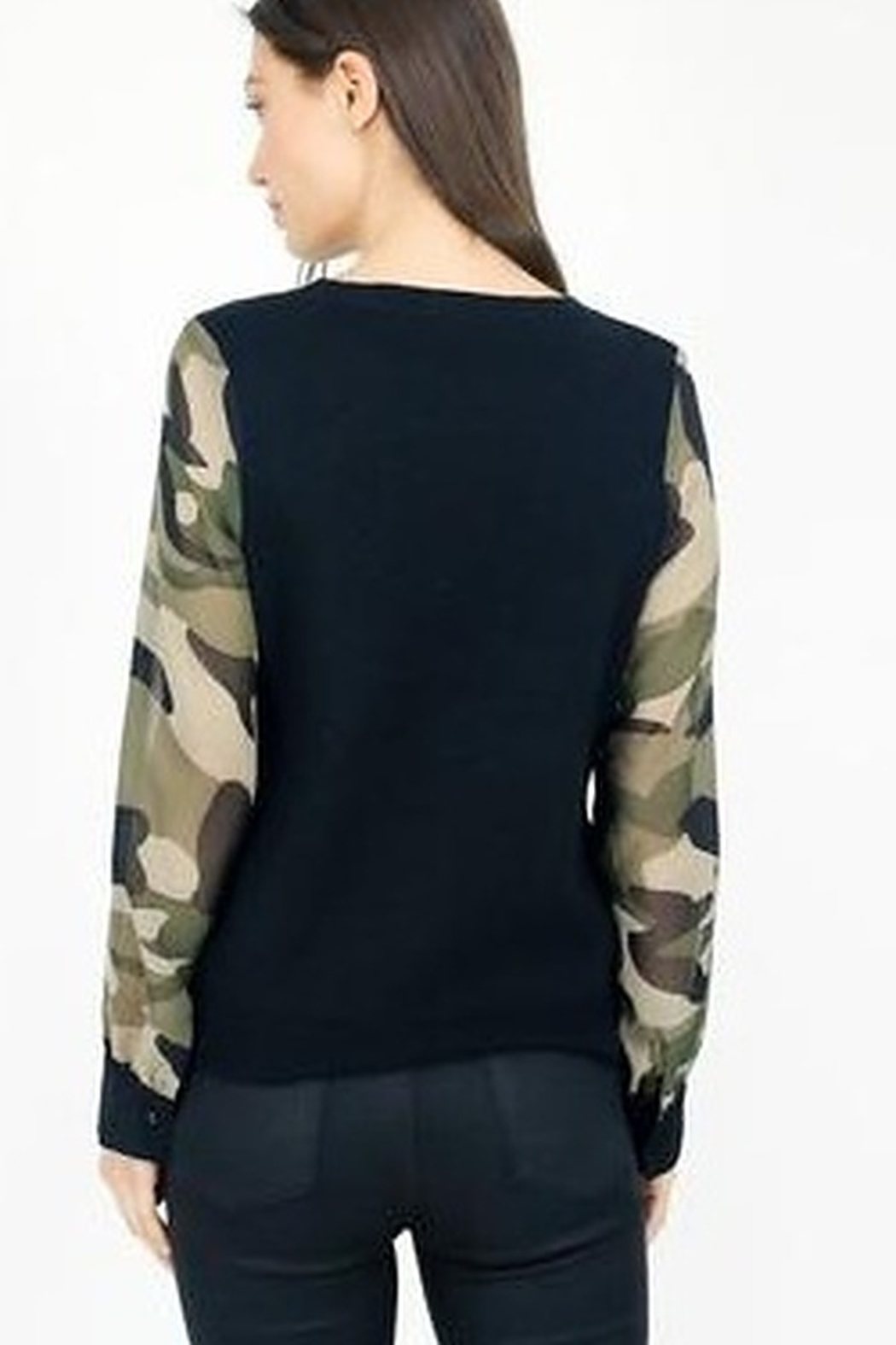 Six Fifty Mixed Media Camo Sleeve Top - Side Cropped Image