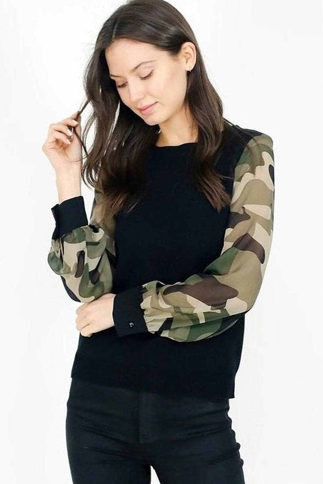 Six Fifty Mixed Media Camo Sleeve Top - Main Image