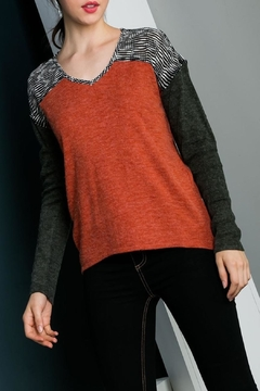 THML Clothing mixed media knit top - Product List Image