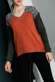 THML Clothing mixed media knit top - Product Mini Image