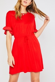 Lyn -Maree's MIxed Media Ruffle Sleeve Dress - Front cropped