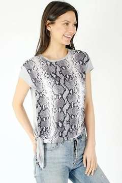Six Fifty Mixed Media Side Tie Snake Print Top - Product List Image