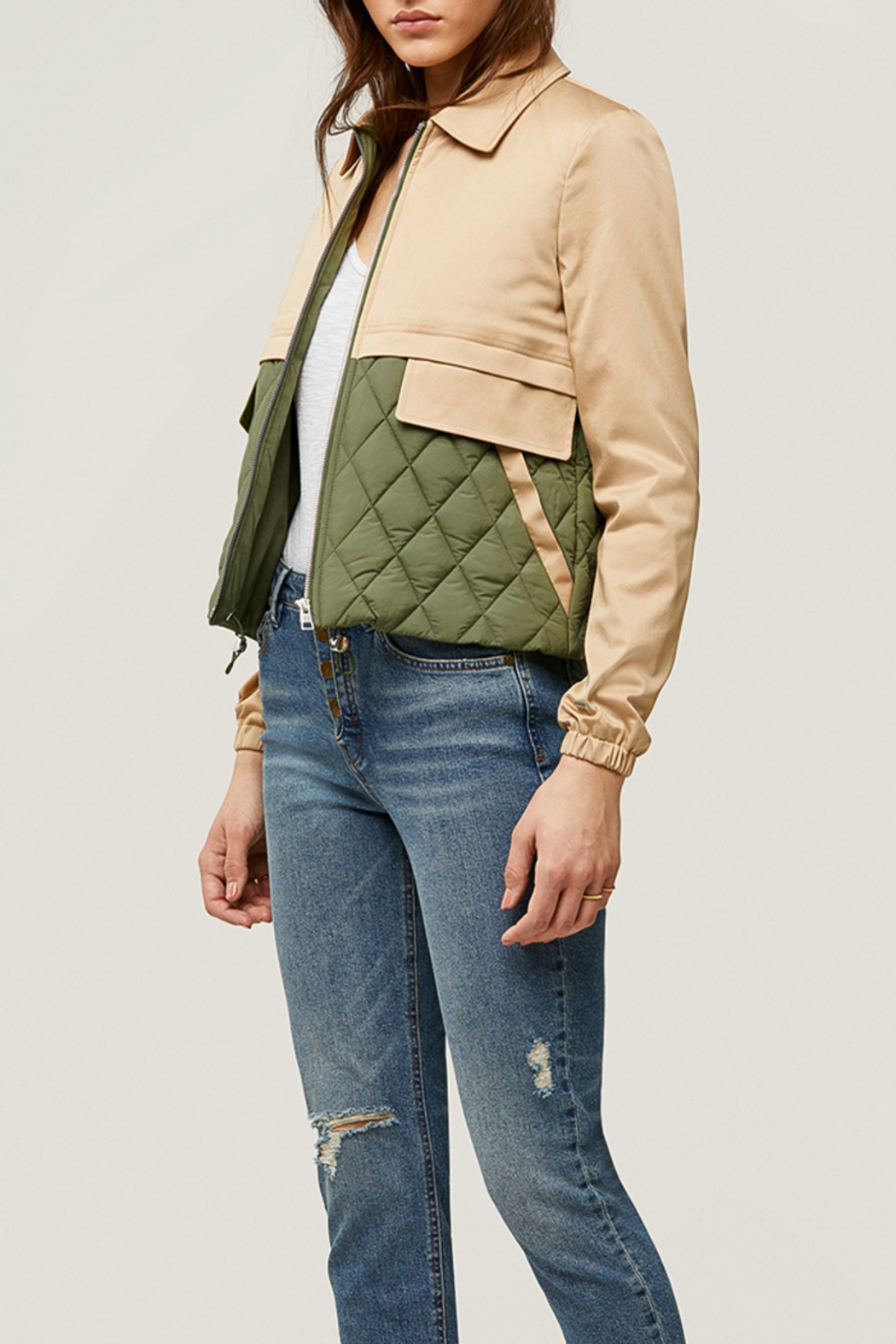 Soia & Kyo Mixed Media Water-Repellent Jacket - Back Cropped Image
