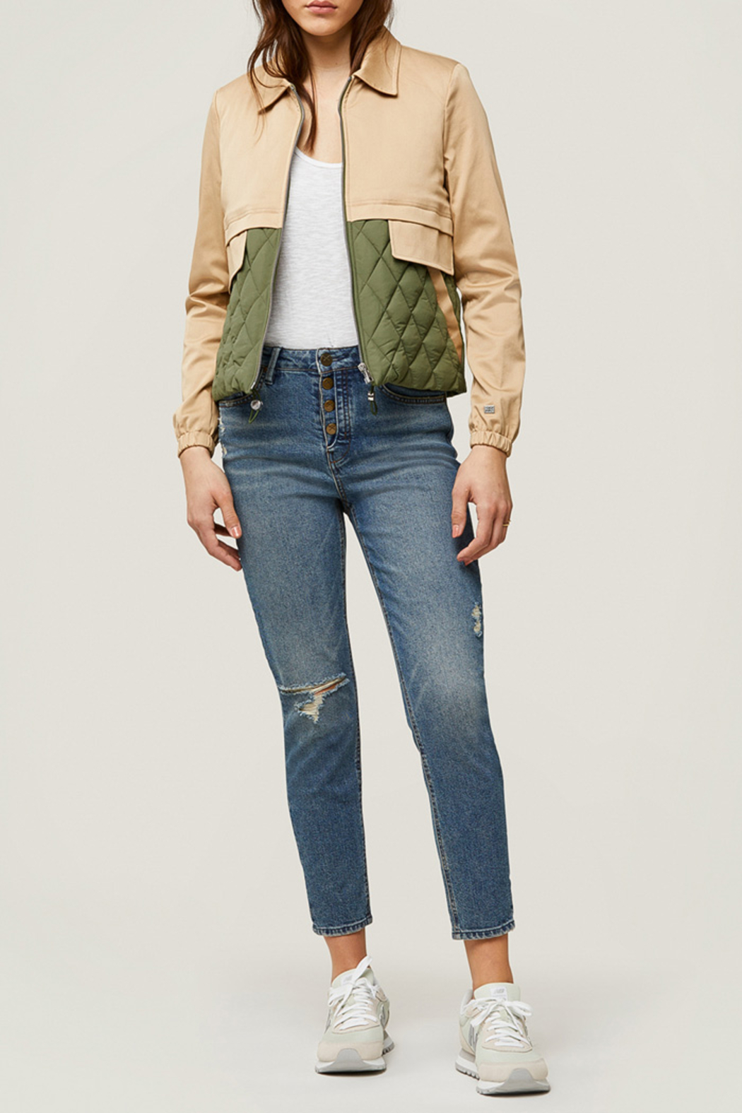 Soia & Kyo Mixed Media Water-Repellent Jacket - Front Full Image