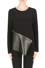 Joseph Ribkoff Mixed Media Zipper L/S Top - Product Mini Image