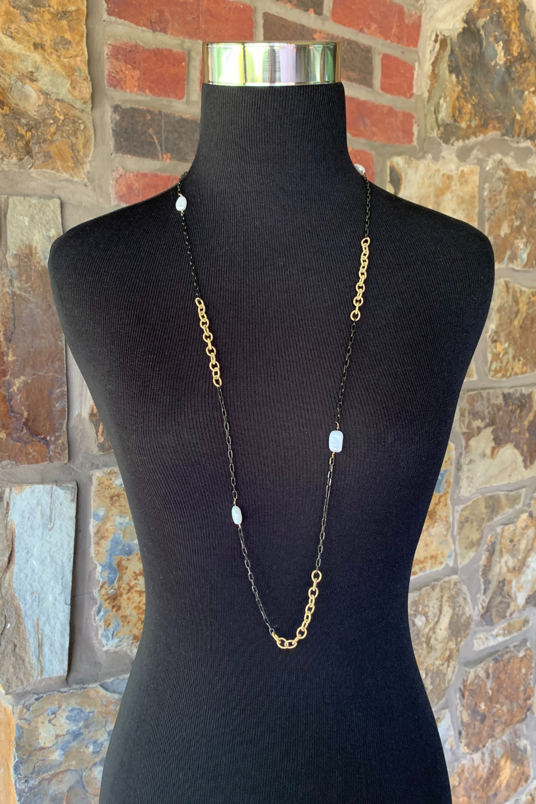 LuLuLisa Mixed Metal and Pearl Chain - Front Full Image