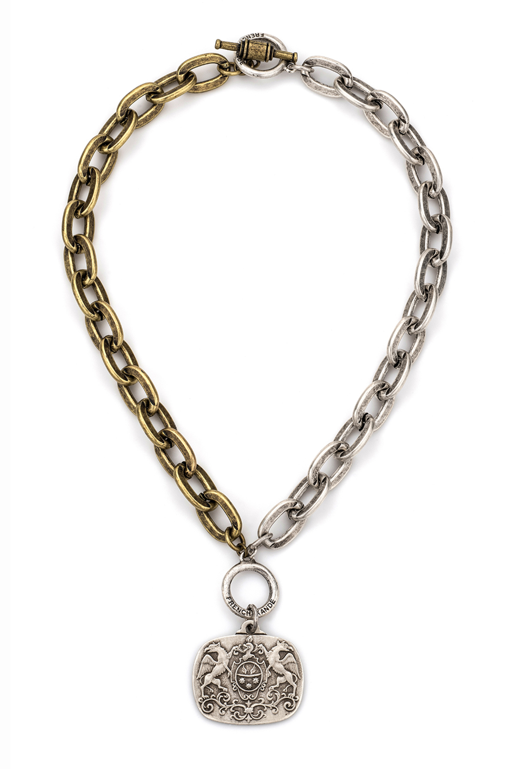 French Kande MIXED METAL CHAIN  Necklace WITH MOILLARD MEDALLION - Main Image