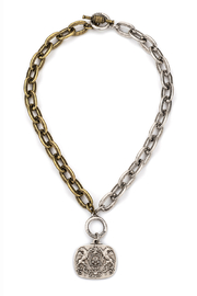 French Kande MIXED METAL CHAIN  Necklace WITH MOILLARD MEDALLION - Front cropped