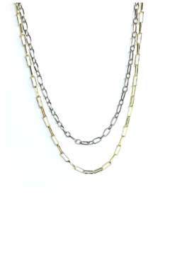 Nicole Lipton Jewelry Mixed Metal Double Layer Chain Necklace - Product List Image