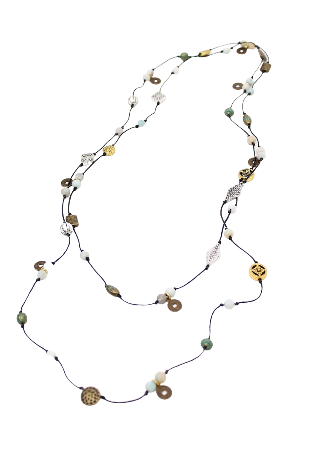 Bali Queen Mixed Metal Layering Necklace - Front Full Image
