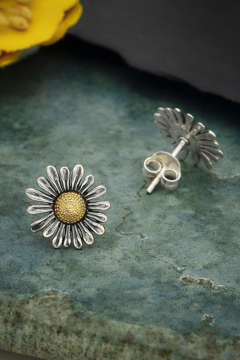 Nina Designs - Fair Trade Mixed Metal (Sterling Silver) Daisy Post Earrings - Product List Image