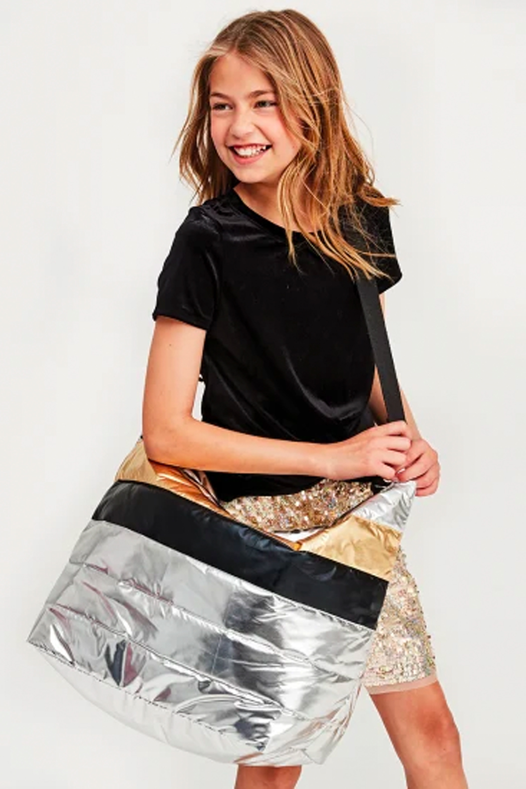 Iscream Mixed Metallic Weekender Bag - Front Full Image