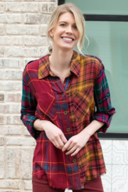 Tru Luxe Mixed Plaid Shirt - Product Mini Image