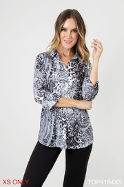 Simply Noelle Mixed Print Button Up - Product Mini Image