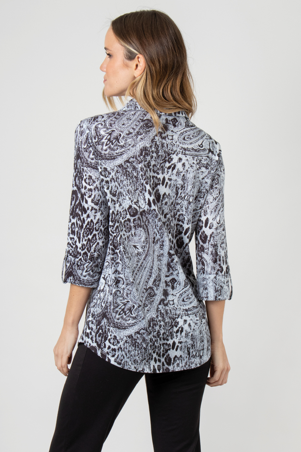 Simply Noelle Mixed Print Button Up - Front Full Image