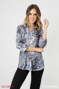 Simply Noelle Mixed Print Button Up - Product List Image