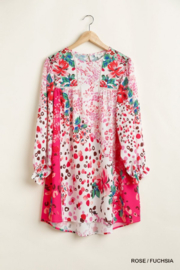 umgee  Mixed Print Crochet Trim Detailed Dress with Ruffle Sleeves - Product Mini Image