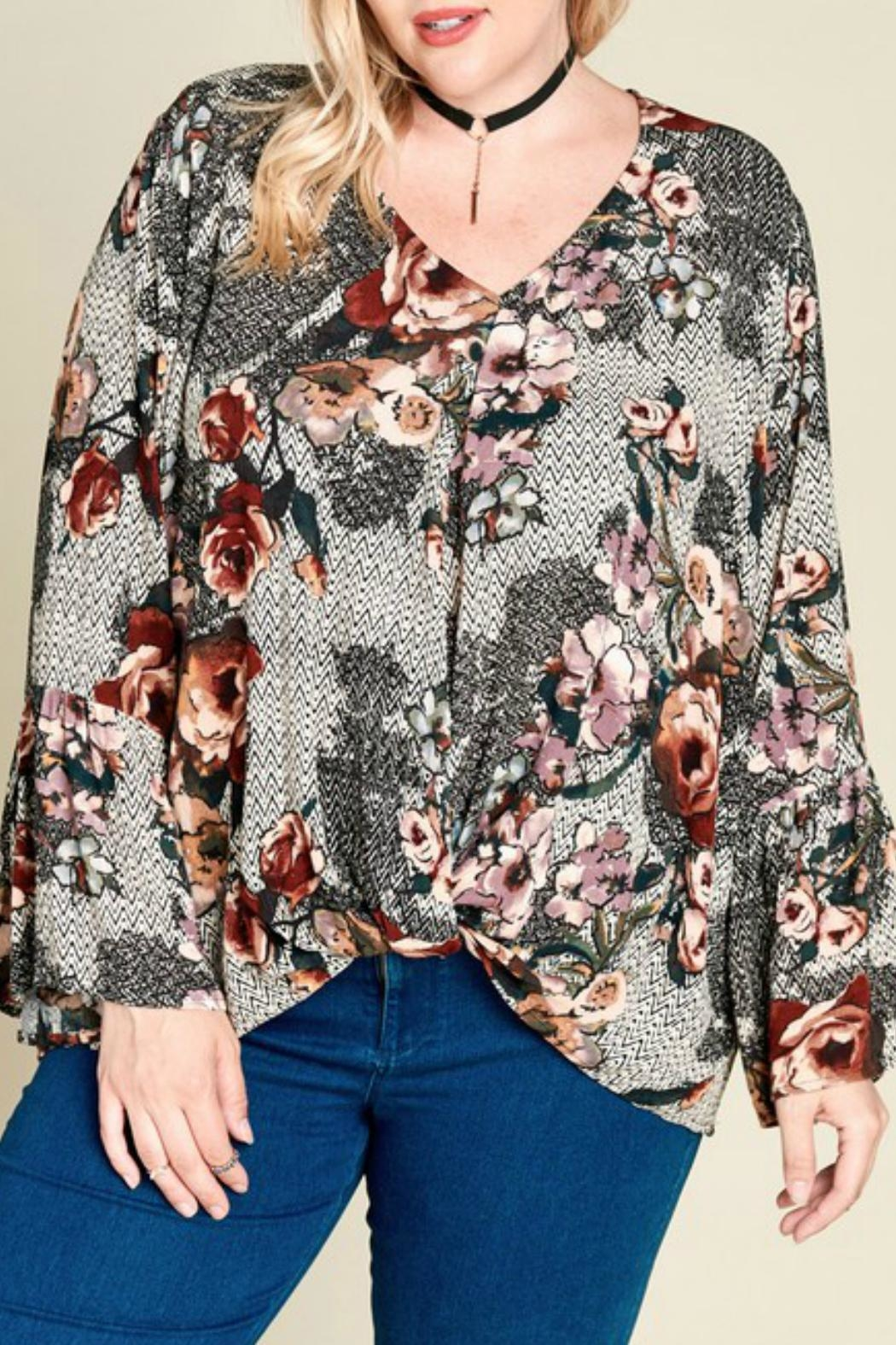 Oddi Mixed-Print Floral Top - Side Cropped Image