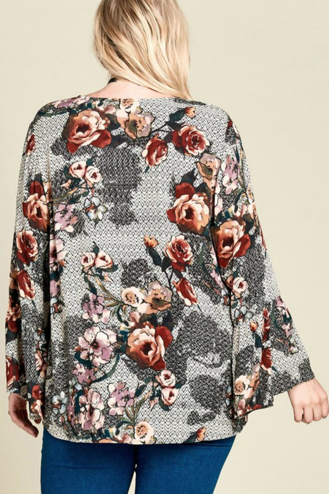 Oddi Mixed-Print Floral Top - Back Cropped Image