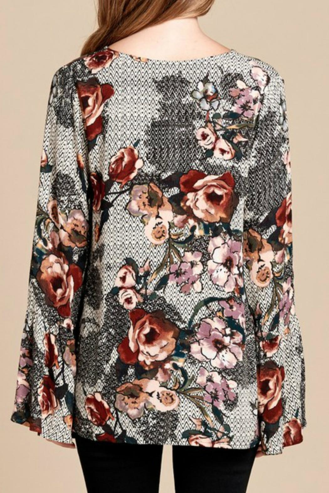 Oddi Mixed-Print Floral Top - Front Full Image