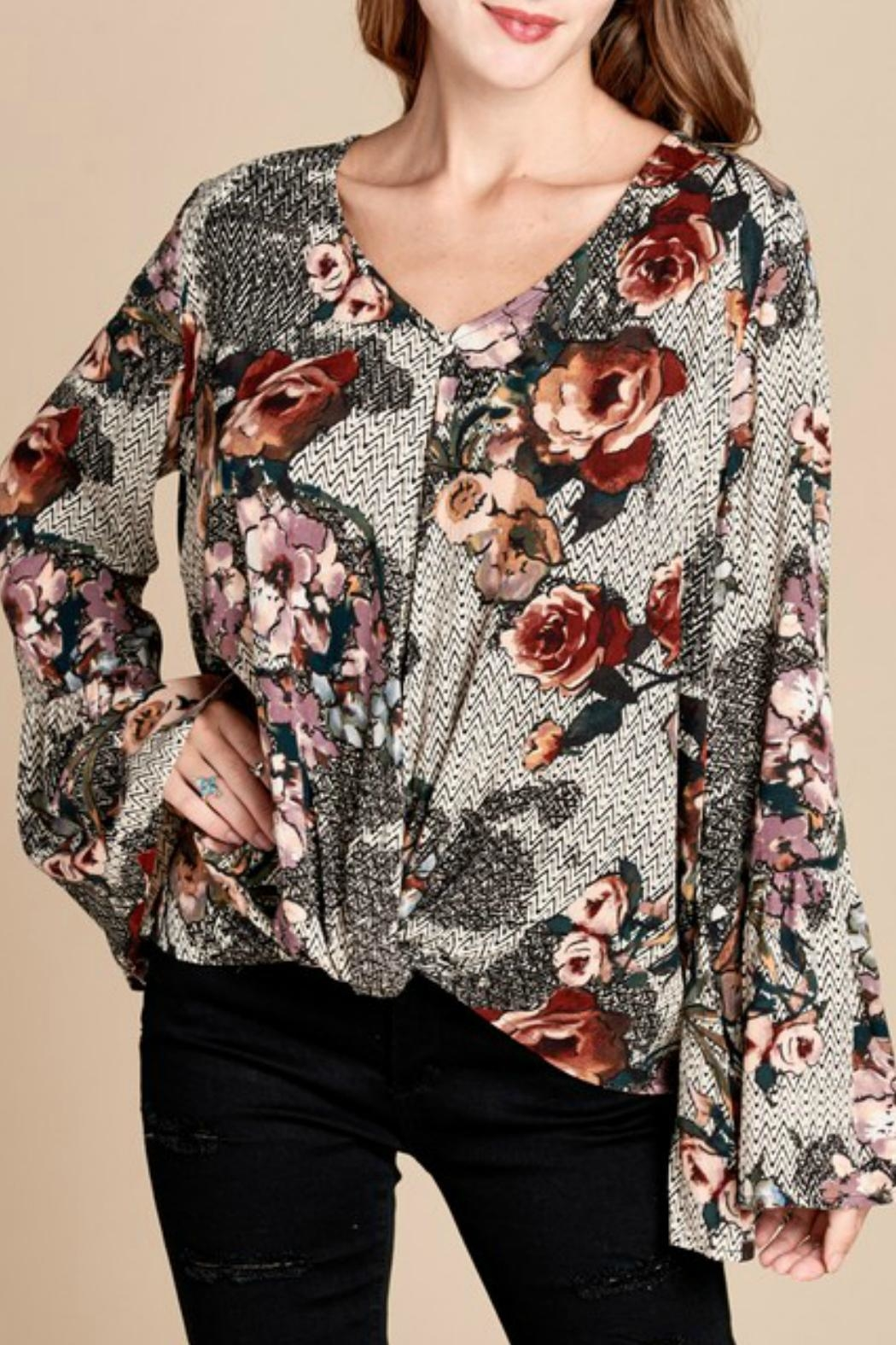 Oddi Mixed-Print Floral Top - Front Cropped Image