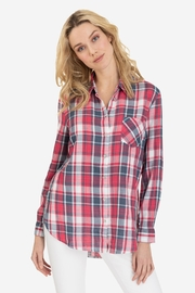 Tribal Mixed-Print Plaid Top - Front cropped