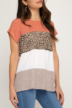 She + Sky Mixed Print Top - Alternate List Image