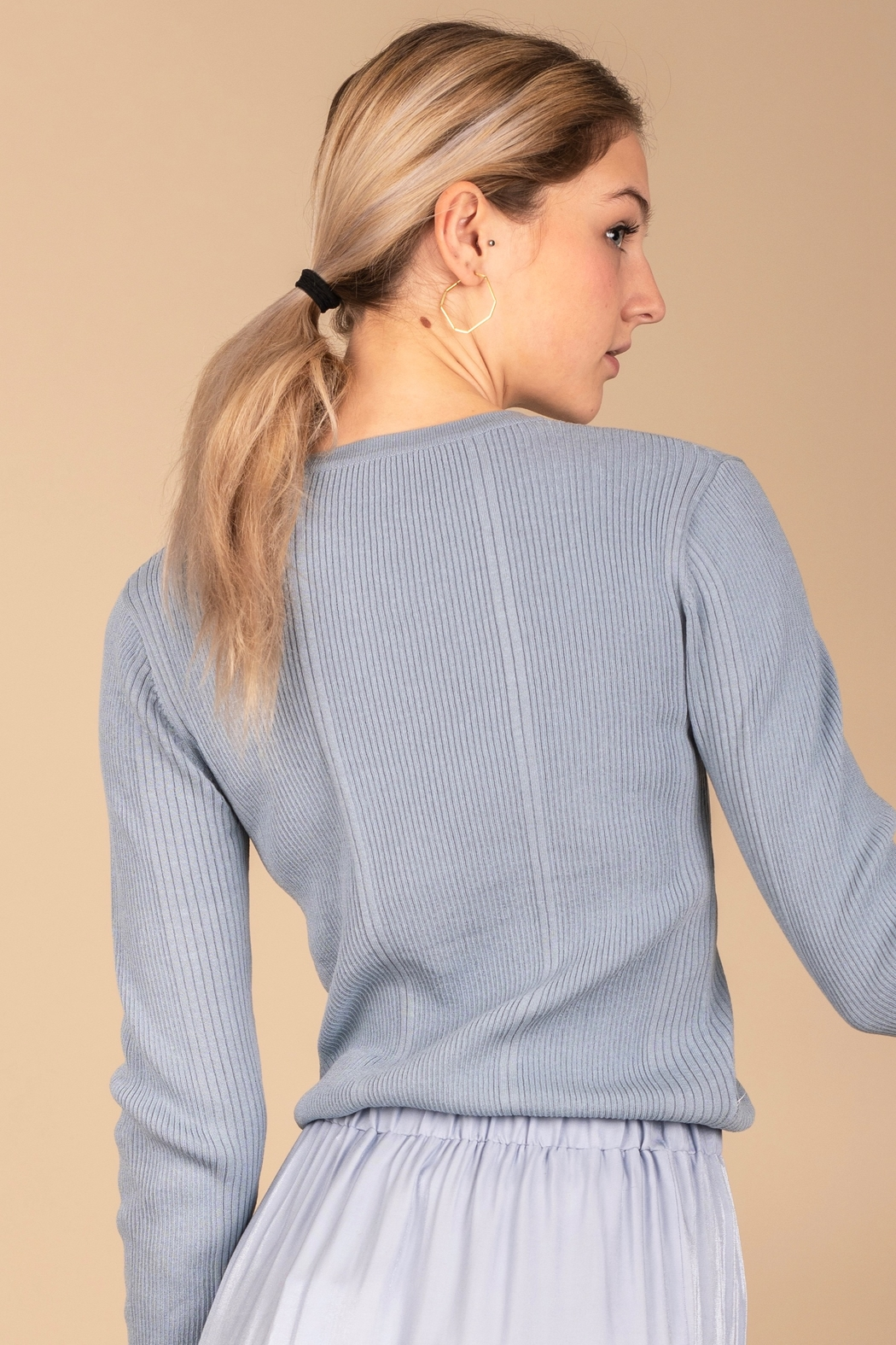 Meli by FAME Mixed Ribbed Sweater - Front Full Image