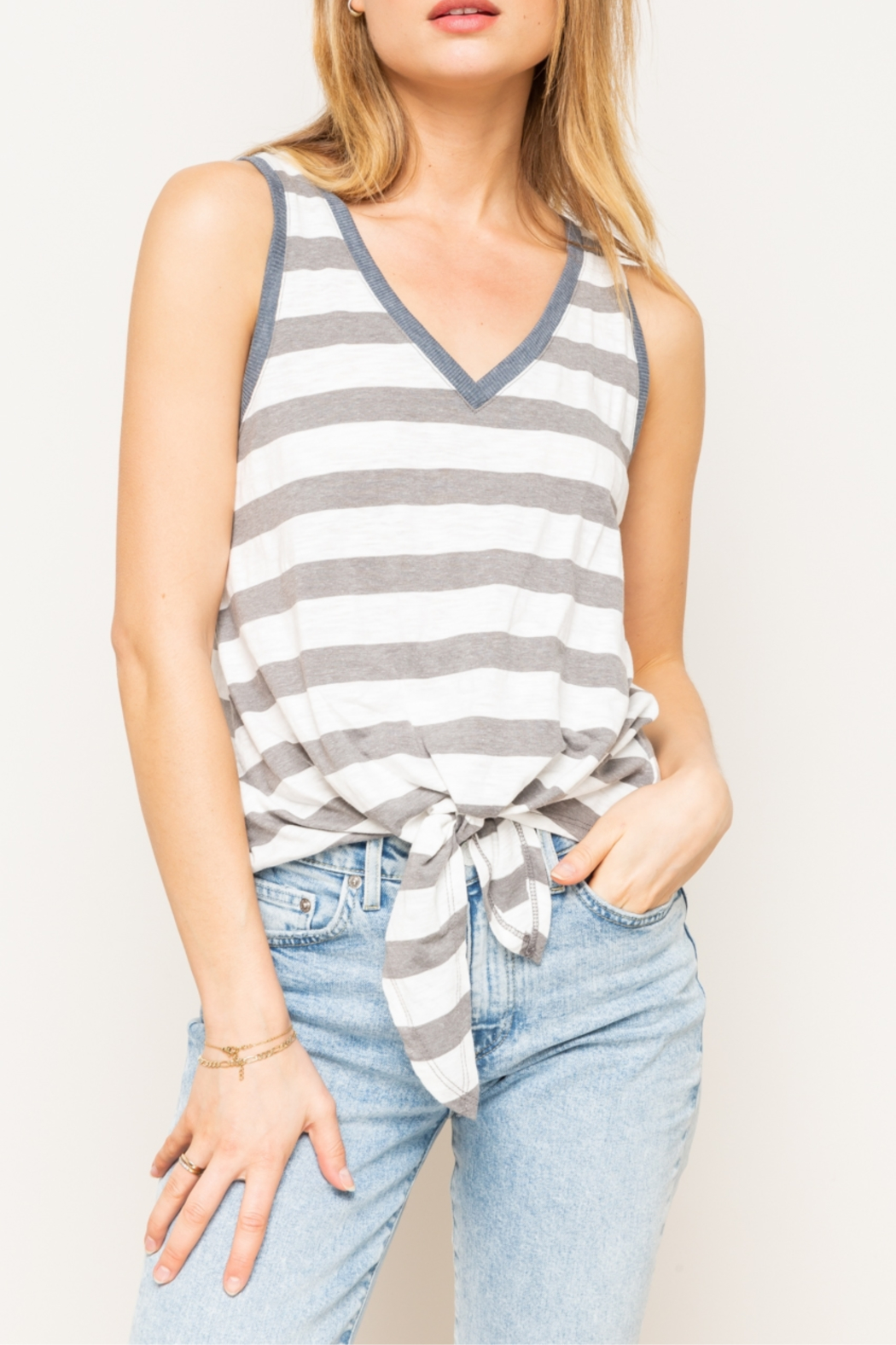 Hem & Thread Mixed Striped Tie Front Tank Top - Main Image